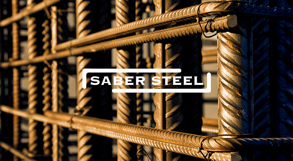Saber Steel, splash image, picture of rebar with Saber Steel logo superimposed on top